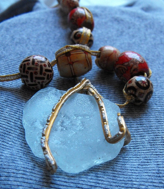 Ice and Flame - Gypsy Mermaids Necklace, Sea Glass, wire, beads