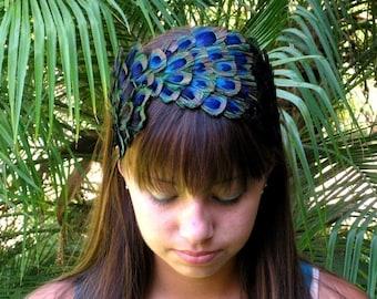 CASEY-peacock feather headband