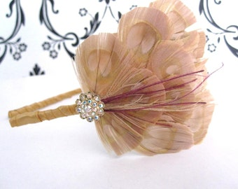 MONICA- bleached peacock feather headband