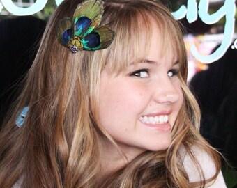 DEBBY- peacock feather clip, As seen on DEbby Ryan at Teen Choice awards