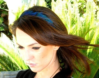 Harper- Vivid blue peacock feather headband SALE