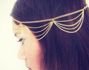CHAIN HEADPIECE- chain headdress head chain headchain - Original designer gold drape head chain