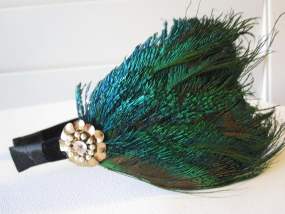 FRANCOISE- Vintage Peacock headband ooak