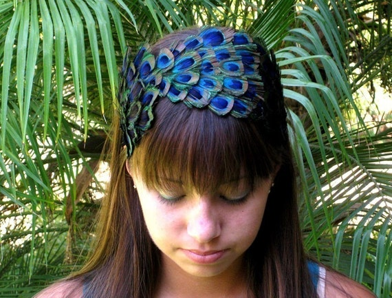 CASEY-peacock feather headband