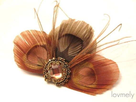 BLUSH feather clip/fascinator- Ready to ship