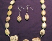 Reserved for RJ-Jasper and Crystal Necklace and Earrings Set