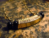 """Gold Vermeil (22kt) and Onyx """"Box"""" Necklace"""