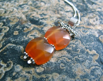 Faceted Carnelian and Silver Necklace