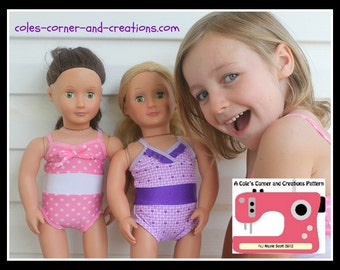 All 4 One Stylish Swimsuit PDF sewing pattern for dolly