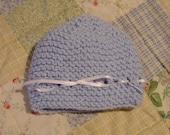 French Ribbon Tie Knit Baby Cap Pattern PDF