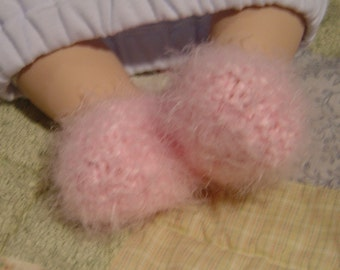 Fuzzy Diva Knit Baby Slippers Pattern PDF