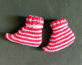 French Candy Cane Baby Elf Booties, Fast and Easy Pattern PDF