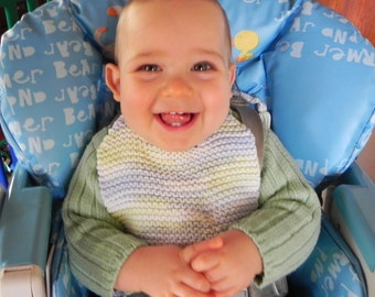 French Hand Knit Baby Bib Pattern PDF