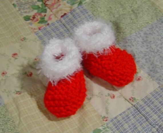 French Santa Baby Booties Knitting Pattern PDF