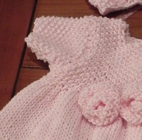 French Rosette Baby Dress Knitting Pattern PDF by MadameSegneri