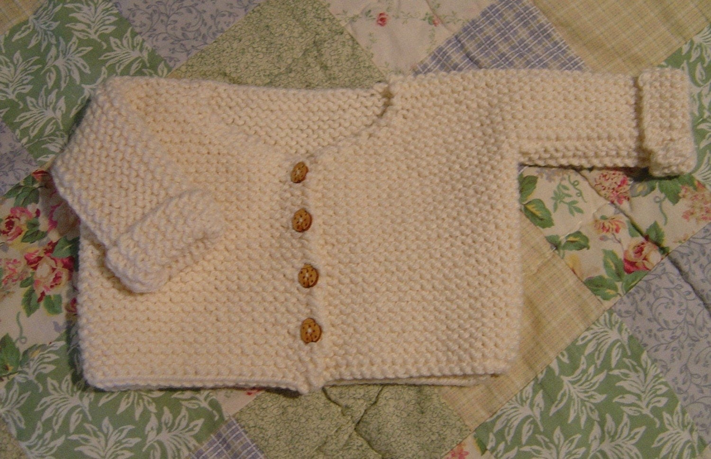 Garter Stitch Baby Knitting Patterns : French garter stitch baby cardigan knitting pattern pdf size