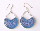 20% OFF,  Blue and Pink Glass Spiral Ivy Earrings
