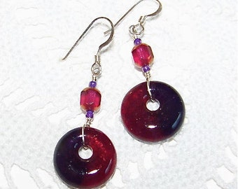 Fused Glass Earrings with glass beads on sterling silver wire, handmade jewelry