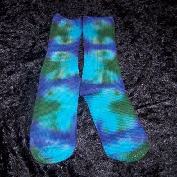 OOAK Blue, Green and Purple Tie-Dyed Cotton Socks, size 9-11, tie-dyed clothes by colorolight on Etsy