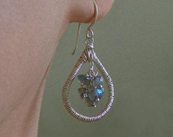 Labradorite Cluster Teardrop Earrings - Wire Wrap - Blue - Green - Dangle  - Tear Drop - Sterling Silver