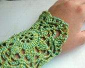 Lacy Floral Crochet Cuff in Aqua and Lime Green