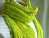 Hand Dyed Felted Gauze Scarf--Green Citrus
