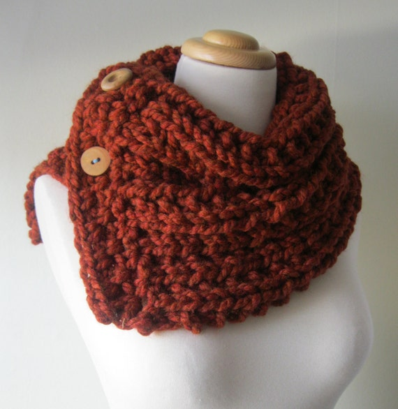 RESERVED Chunky Knit Three-Button Neck Warmer--Rust