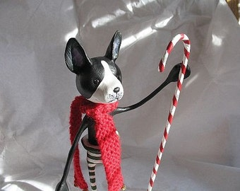 French Bulldog with Candy Cane