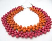 SALE regular price 40 usd large necklace pink and orange acai beads