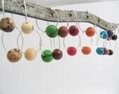 Acai hoop earrings, medium sized hoops, seed bead hoop earrings, beaded hoop earrings
