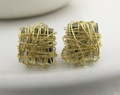 golden square earstuds recycled glass