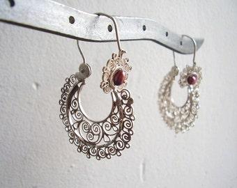 bordeaux red pearl in sterling handmade filigree earrings