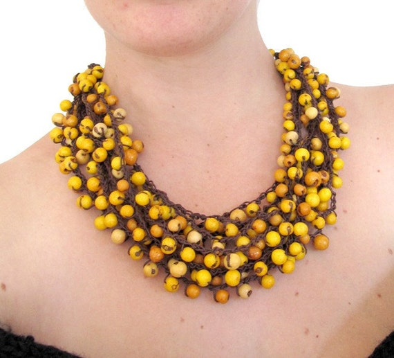 yellow statement necklace, Cluster Necklace, Acai Necklace, Multi strand Necklace, adjustable