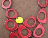 Red Black Yellow Donut Necklace