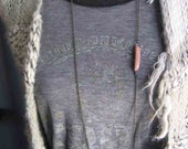Long Skinny Chain Layering Necklace with Light Pink Accent