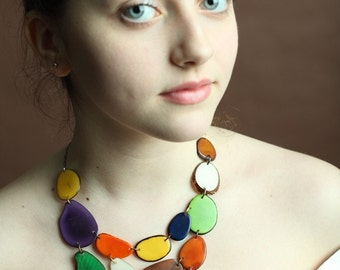 Mixed Color Tagua Nut Necklace