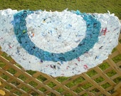 Blue and White recycled plastic bag rag rug (a)