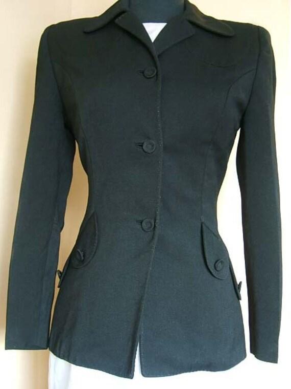 1940s Western Rockabilly Style Fitted Jacket.Blazer. Black Gabardine Wool. Decorative Hand Made Pick Stitching. Bust 38 Bust