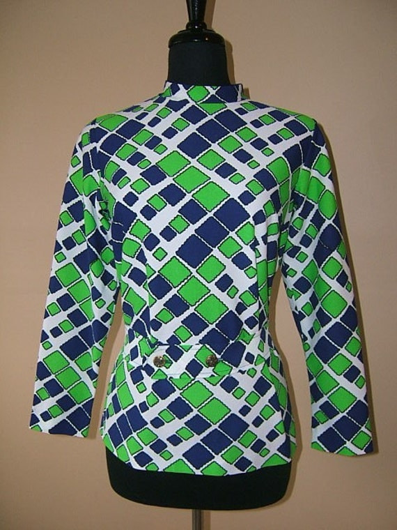 Vintage 1960s 70s Hipster Blouse with Geometric Abstract  Mod Op Art Block. Blue and Green. SM Matching Belt. SM Bust  38