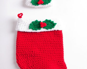 Baby's First Christmas Cocoon and Beanie Photography Prop