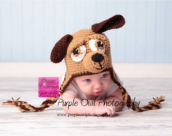 Puppy Earflap Beanie Hat - Any Color Combo - Any Size