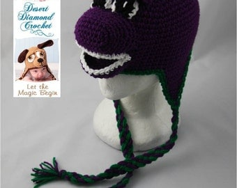 Purple Dinosaur Earflap Beanie - Any Colors - Any Size