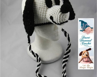 White Puppy Earflap Beanie - Any Colors - Any Size