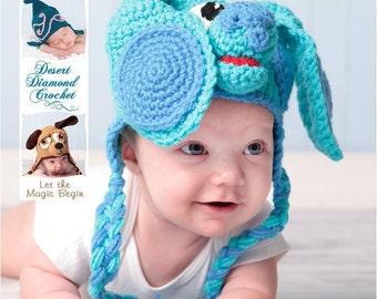 Crochet Pattern 030 - Blue Puppy Earflap Beanie Hat - All Sizes
