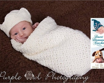 Prince Coming Home Newborn Cocoon Photography Prop complete with Crown