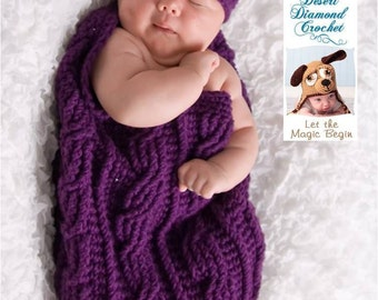 Eggplant Cocoon and Beanie Set - Photography Prop