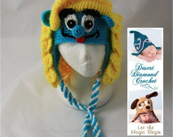 Crochet Pattern 059 - Girl Blue Gnome Beanie Hat - All Sizes