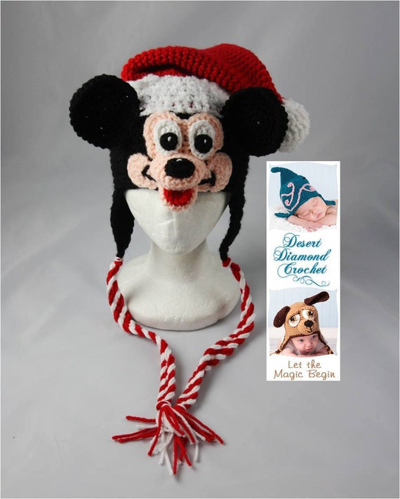 Crochet Pattern 040 - Mr Christmas Santa Mouse Beanie Hat - All Sizes