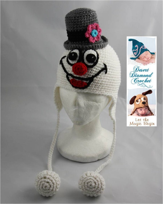 Crochet Pattern 043 - Mr Snowman Earflap Hat - All Sizes