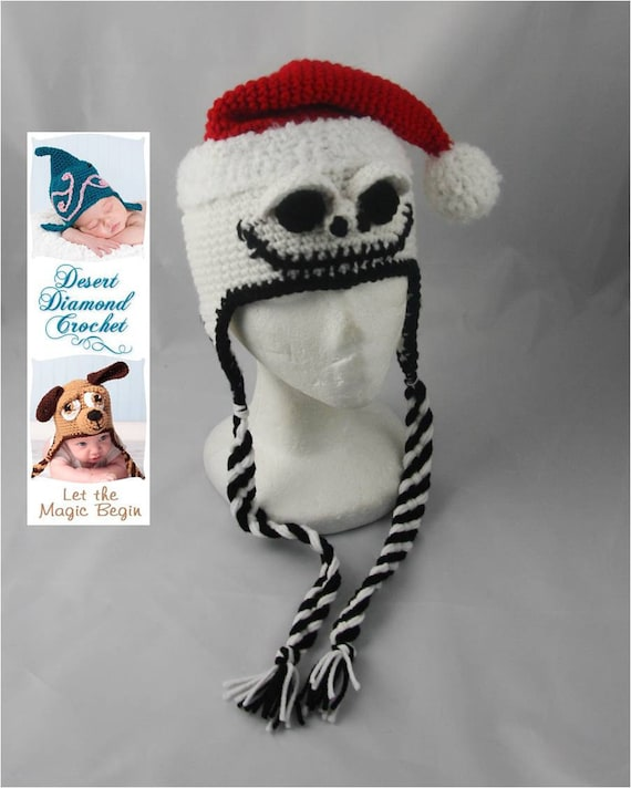 Crochet Pattern 044 - Santa Skeleton Hat - All Sizes